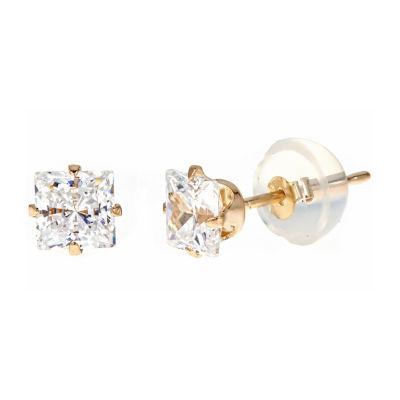 1 1/3 CT. T.W. White Cubic Zirconia 14K Gold 4mm Stud Earrings