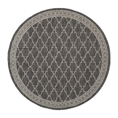 Safavieh Courtyard Collection Keeley Geometric Indoor/Outdoor Round Area Rug