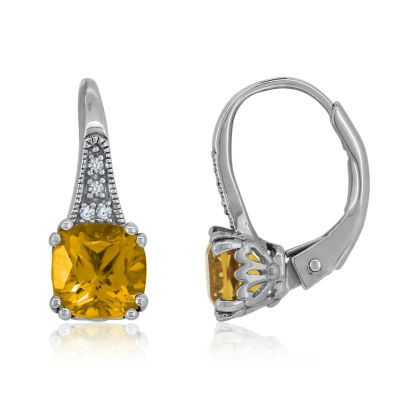 Genuine Yellow Citrine Sterling Silver Drop Earrings