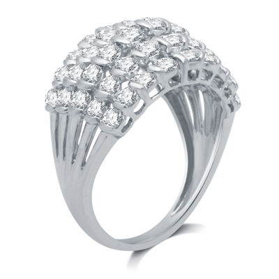 Womens 2 CT. T.W. Genuine White Diamond 10K White Gold Cocktail Ring