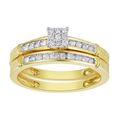 Womens 1/5 CT. T.W. Genuine White Diamond 10K Gold Engagement Ring