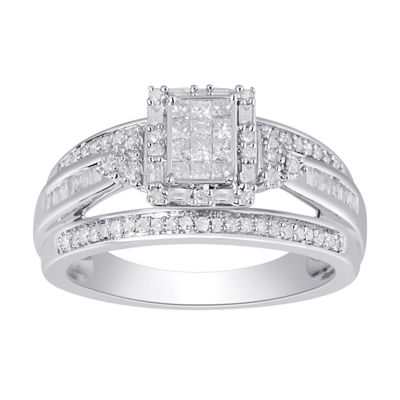 Womens 1/2 CT. T.W. Genuine White Diamond 10K White Gold Engagement Ring