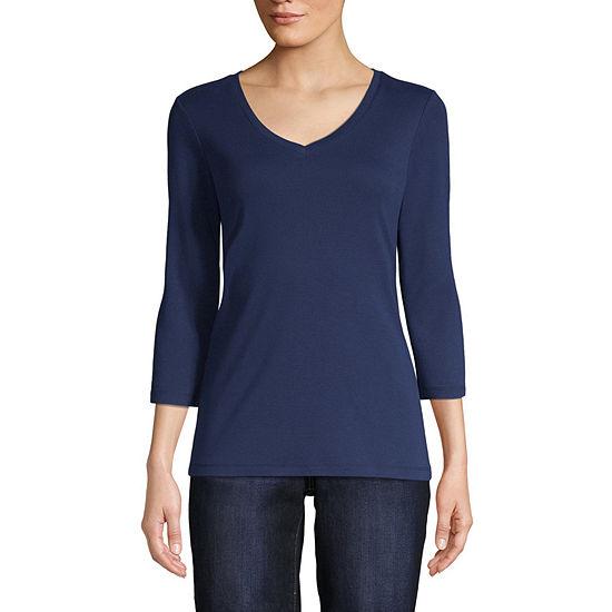 St. John's Bay Tall-Womens V Neck 3/4 Sleeve T-Shirt