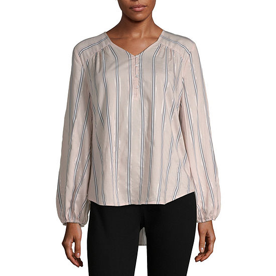 Liz Claiborne Womens V Neck Long Sleeve Blouse