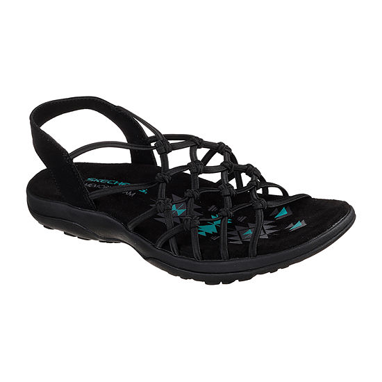 Skechers Womens Reggae Slim Criss Cross Strap Flat Sandals