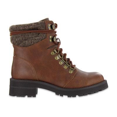 Mia Girl Womens Ashtin Lace Up Boots Flat Heel