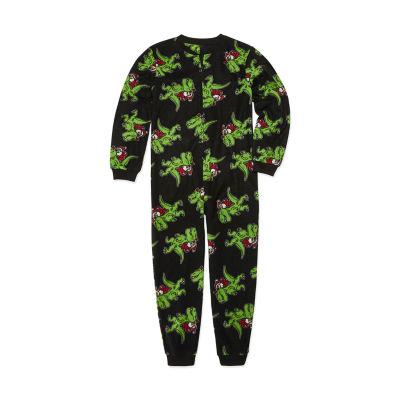Arizona Boys Husky Microfleece One Piece Pajama Long Sleeve