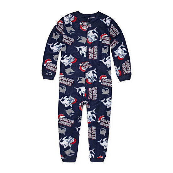 Arizona Boys Husky Microfleece One Piece Pajama Long Sleeve