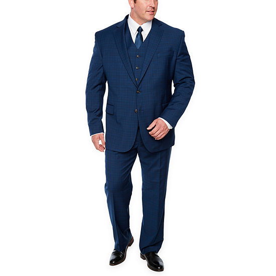 Stafford Blue Burgundy Glen Suit Separate Big and Tall
