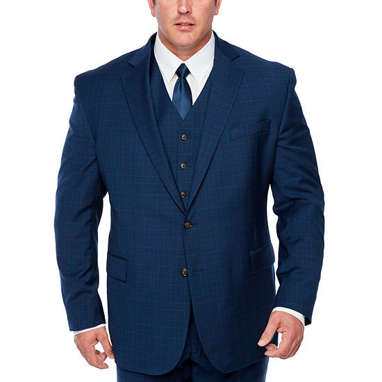Stafford Mens Plaid Stretch Classic Fit Suit Jacket-Big and Tall
