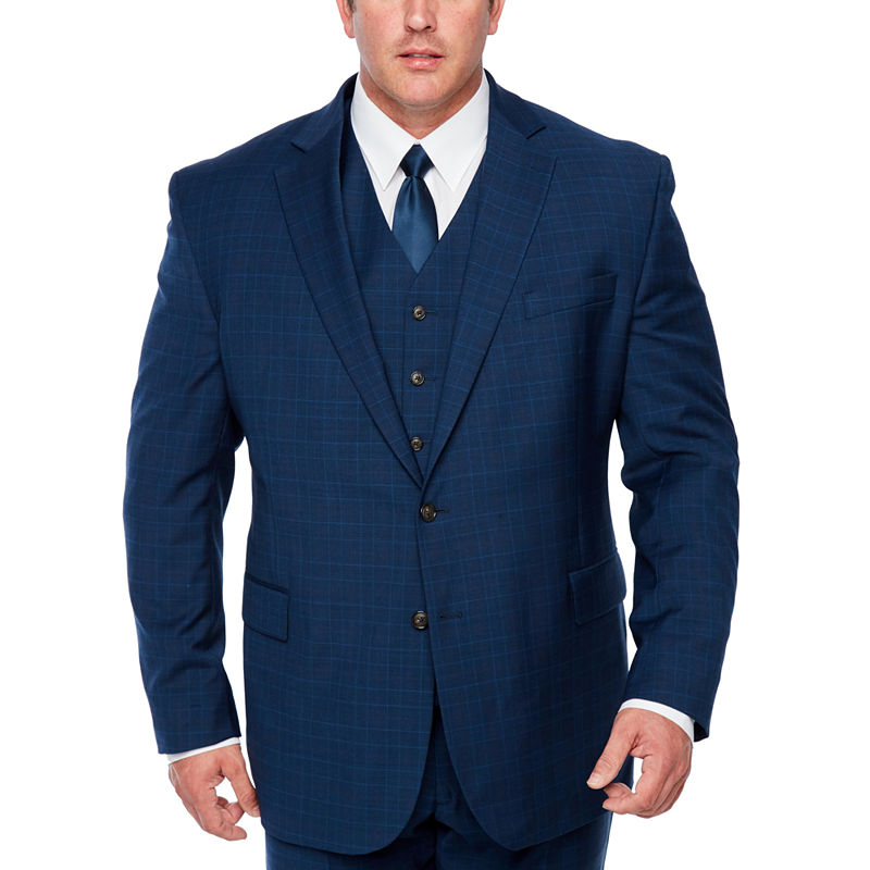 Men's Vintage Style Suits, Classic Suits Stafford Plaid Classic Fit Stretch Suit Jacket-Big and Tall Mens Size 54 Big Short Blue $35.24 AT vintagedancer.com