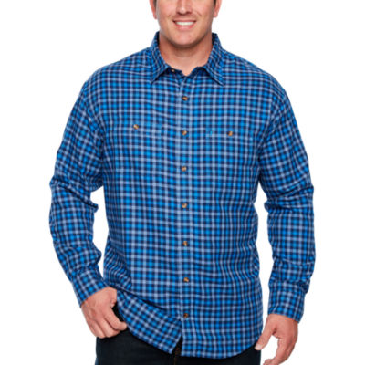IZOD Ls Harbor Twill Woven Long Sleeve Plaid Button-Front Shirt-Big and Tall