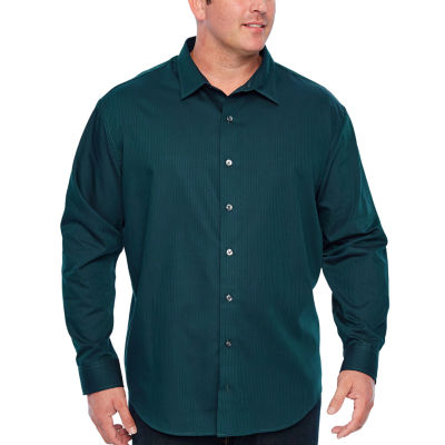 Van Heusen Tall Slim Easy Care Sateen Stripe Woven Long Sleeve Stripe Button-Front Shirt-Tall