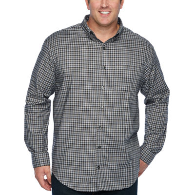 Van Heusen Mens Long Sleeve Checked Button-Front Shirt Big and Tall