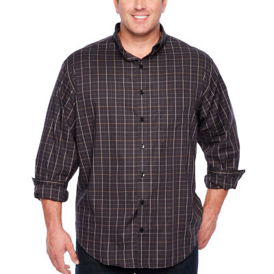 Van Heusen Long Sleeve Windowpane Button-Front Shirt-Big and Tall