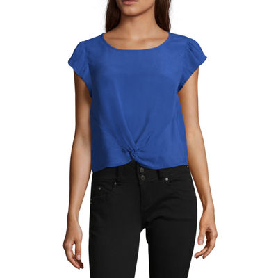 Eyeshadow Short Sleeve Scoop Neck Woven Blouse-Juniors