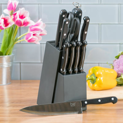 Basic Essentials Triple Riveted 12-Pc.Cutlery Set 12-pc. Knife Block Set