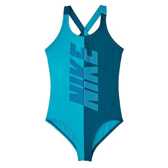 Nike Girls Logo One Piece Swimsuit Big Kid