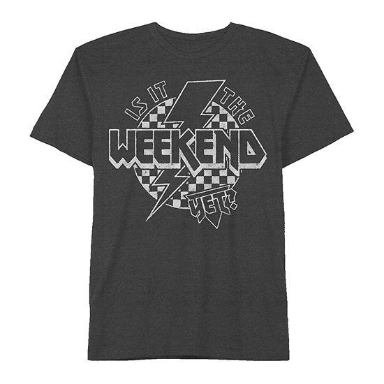 """Is It The Weekend Yet?"" Boys Crew Neck Short Sleeve Graphic T-Shirt - Preschool / Big Kid"