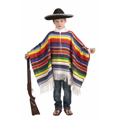 Childs Mexican Poncho Costume- One Size Fits Most