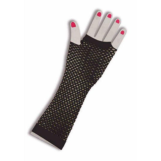 80'S - Neon Fishnet Gloves - Black
