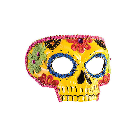 Buyseasons Day Of The Dead Yellow Mask Dress Up Accessory