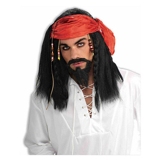 Buccaneer Pirate Wig With Beaded Bandana Dress Up Accessory