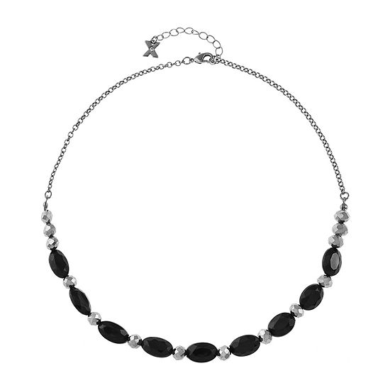 Mixit Black 17 Inch Cable Collar Necklace