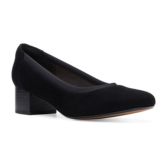 Clarks Womens Chartli Fame Pumps Stacked Heel