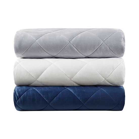 Beautyrest Luxury Quilted Faux Mink Weighted Removable Cover Blanket