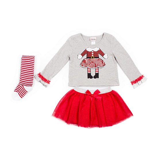 Little Lass Christmas Girls 3-pc. Skirt Set Baby