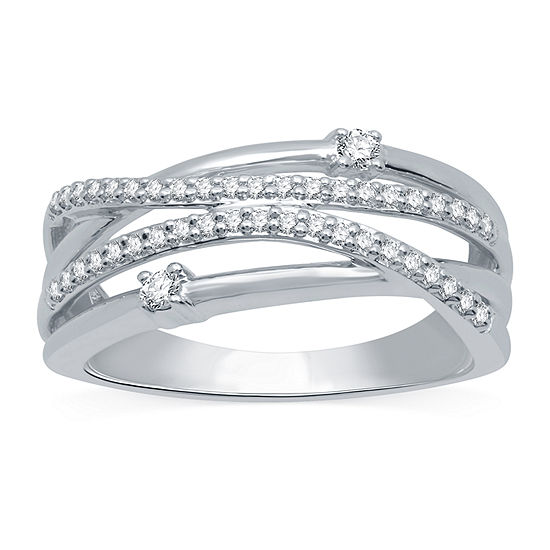 Ever Star Womens 2MM 1/4 CT. T.W. Lab Grown White Diamond 10K White Gold Round Crossover Band