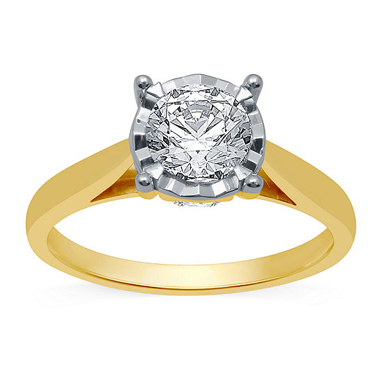 Ever Star Womens 1 1/4 CT. T.W. Lab Grown White Diamond 10K Gold Round Solitaire Engagement Ring