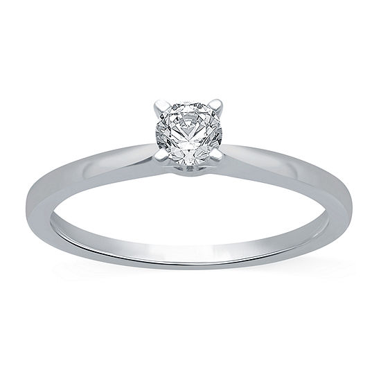 Ever Star Womens 1/4 CT. T.W. Lab Grown White Diamond 10K White Gold Round Solitaire Engagement Ring