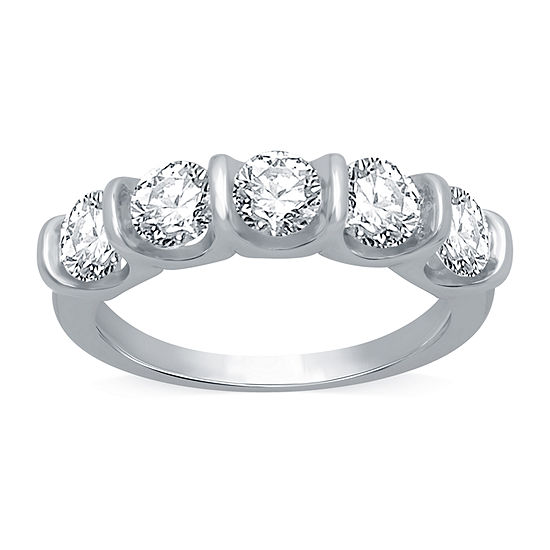 Ever Star Womens 2MM 2 CT. T.W. Lab Grown White Diamond 10K White Gold Band