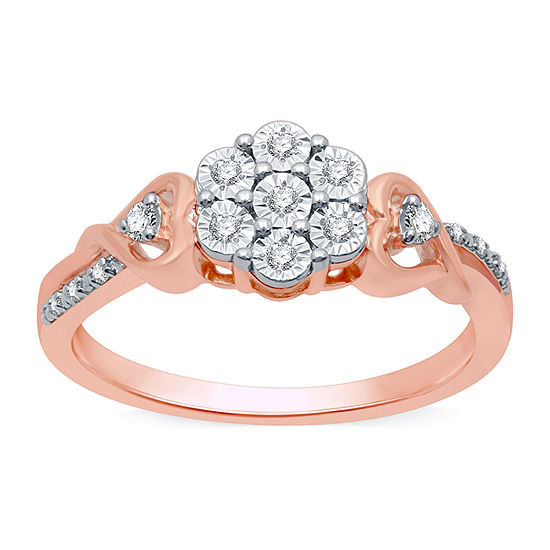 Diamond Blossom Womens 1/10 CT. T.W. Genuine Diamond 14K Rose Gold Over Silver Cocktail Ring