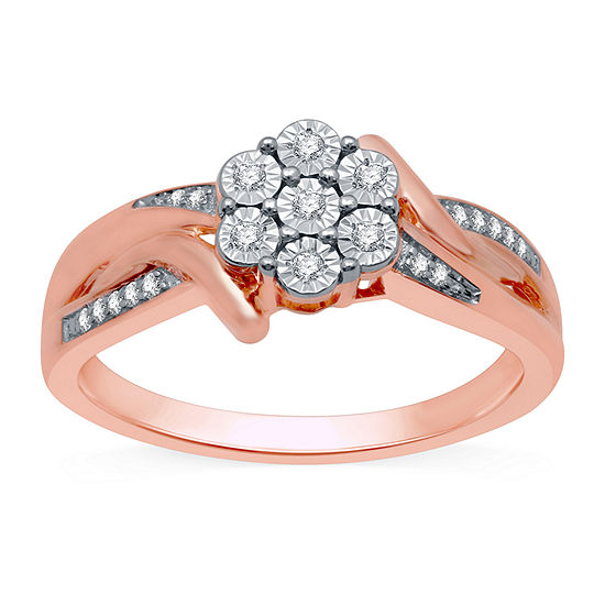 Diamond Blossom Womens 1/10 CT. T.W. Genuine Diamond 14K Rose Gold Over Silver Cluster Cocktail Ring