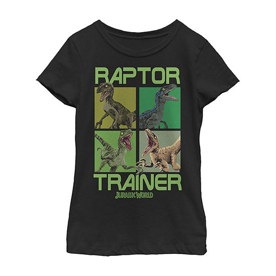 Raptor Trainer Dino Boxes Little & Big Girls Slim Crew Neck Jurassic World Short Sleeve Graphic T-Shirt