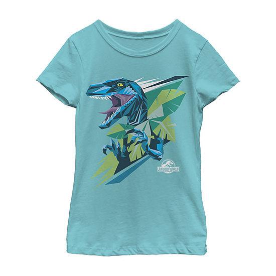 Jurassic Park Blue Graphic Dino Little & Big Girls Slim Crew Neck Jurassic World Short Sleeve Graphic T-Shirt
