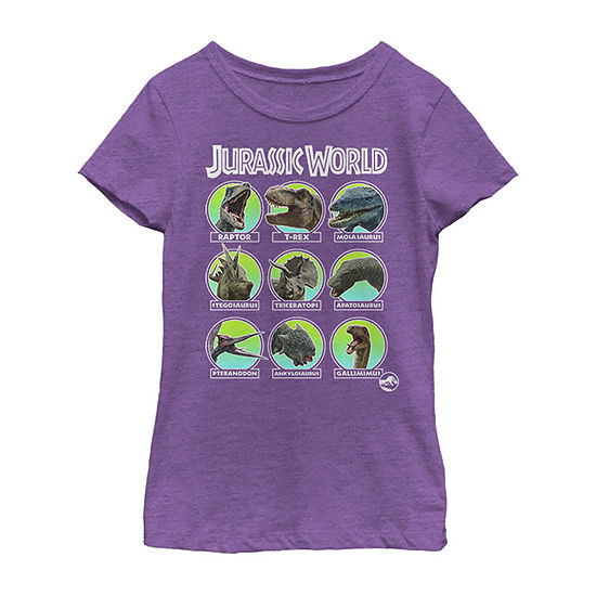 Jurassic World Dino Identification & Names Girls Crew Neck Short Sleeve Graphic T-Shirt - Preschool / Big Kid Slim