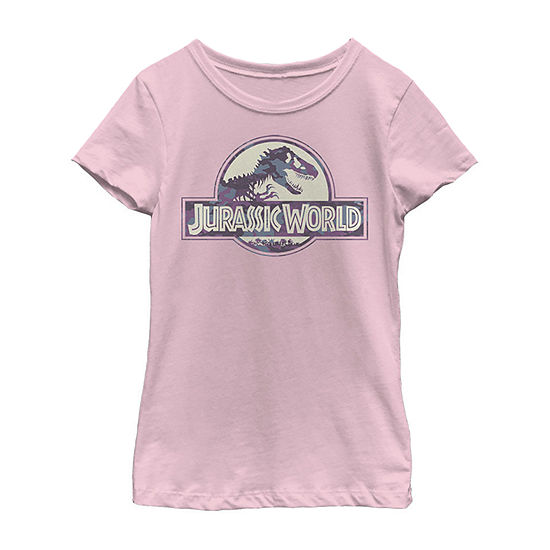 Jurassic World Purple Camo T-Rex Fossil Logo Little & Big Girls Slim Crew Neck Jurassic World Short Sleeve Graphic T-Shirt