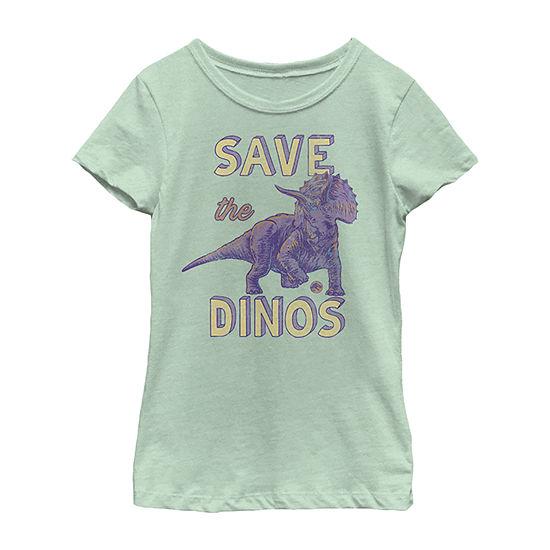 Save The Dinos Triceratops Little & Big Girls Slim Crew Neck Jurassic World Short Sleeve Graphic T-Shirt