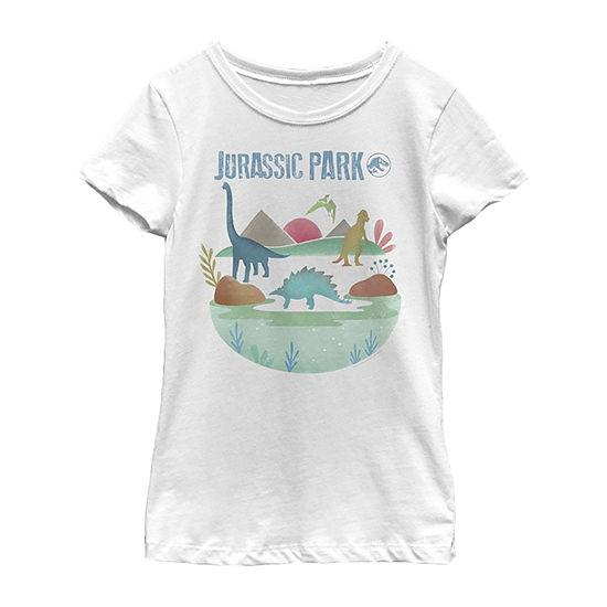 Jurassic Park Island Diversity Little & Big Girls Slim Crew Neck Jurassic World Short Sleeve Graphic T-Shirt