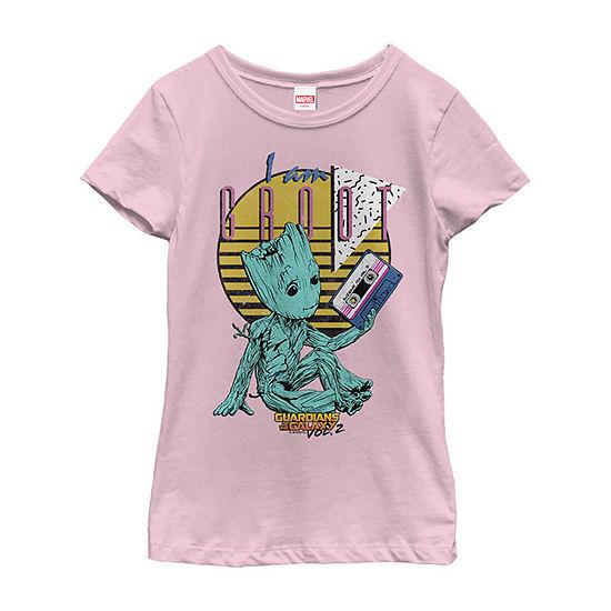 Guardians Vol. 2 Baby Groot Retro 90'S Tape Girls Crew Neck Short Sleeve Marvel Graphic T-Shirt - Preschool / Big Kid Slim