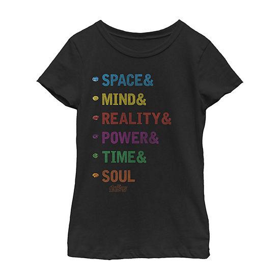 Infinity War Stones Rainbow Text Little & Big Girls Slim Crew Neck Marvel Short Sleeve Graphic T-Shirt