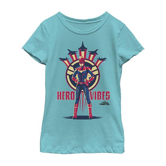 Captain Marvel Movie Hero Vibes Planes Girls Crew Neck Short Sleeve Marvel Graphic T-Shirt - Preschool / Big Kid Slim