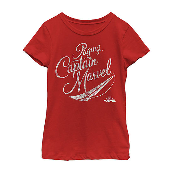 Captain Marvel Movie Red Distressed Logo Girls Crew Neck Short Sleeve Marvel Graphic T-Shirt - Preschool / Big Kid Slim