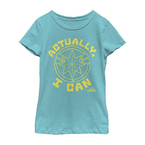 Actually I Can Yellow Logo Girls Crew Neck Short Sleeve Captain Marvel Graphic T-Shirt - Preschool / Big Kid Slim