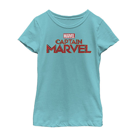 Captain Marvel Pocket Logo Girls Crew Neck Short Sleeve Graphic T-Shirt - Preschool / Big Kid Slim