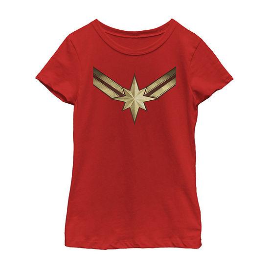 Captain Marvel Movie Gold Blue Logo Girls Crew Neck Short Sleeve Captain Marvel Graphic T-Shirt - Preschool / Big Kid Slim